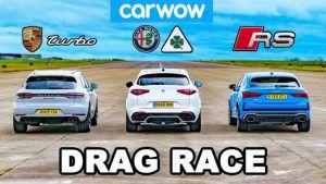 Alfa Romeo Stelvio QV vs Porsche Macan Turbo vs Audi RS Q3 Sportback - utrka ubrzanja donosi novog vladara u SUV klasi
