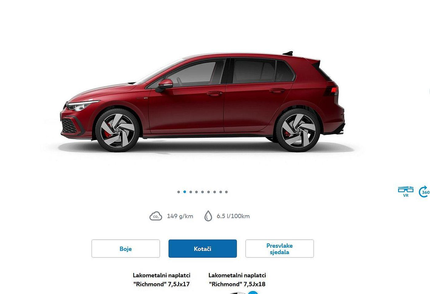 VW Golf  GTI cijena